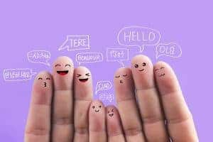 Say hello in different languages, fingers